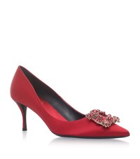 Roger Vivier Decollete Crystal Buckle Satin Pumps 65 Female Red