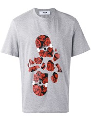 Msgm Floral Printed T Shirt Grey