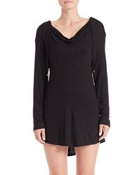 J Valdi Hooded Coverup Black