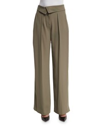 Jason Wu Envelope Waist Wide Leg Trousers Army Women's