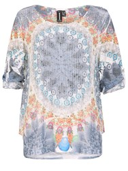 Izabel London Net Trapeze Top With Knit Sleeves Multi Coloured
