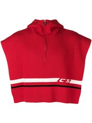 Cmmn Swdn Open Zipped Cape Red