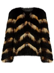 Diane Von Furstenberg Tippy Fur Jacket Black Multi
