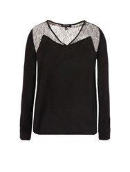 Morgan Crepe And Lace Top Black