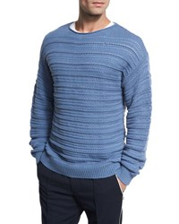 Vince Horizontal Textured Crewneck Sweater Dutch Blue Navy