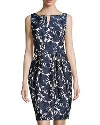 Kay Unger New York Floral Jacquard Sleeveless Sheath Dress Navy Multi