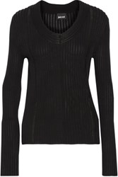 Just Cavalli Pointelle Trimmed Ribbed Knit Cardigan Black