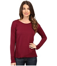 Mod O Doc Cotton Spandex French Terry Asymmetrical Seamed Pullover W Contrast Rib Chianti Women's Clothing Red