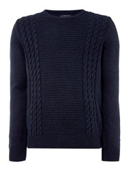 Criminal Logan Cable Stitch Jumper Navy