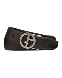 Giorgio Armani Reversible Logo Buckle Vitello Belt Brown Black Brown Black