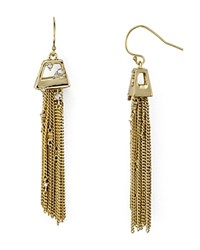Alexis Bittar Chain Tassel Drop Earrings Gold