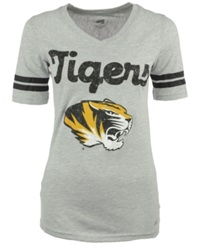 Soffe Women's Short Sleeve Missouri Tigers V Neck T Shirt Gray