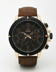 Asos Oversized Heavyweight Watch In Black And Rose Gold Black