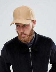 Selected Homme Porter Baseball Cap In Wool Mix Brown