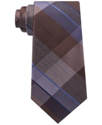 Kenneth Cole Reaction Men's Track Plaid Silk Tie Taupe
