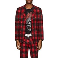 R 13 Plaid Wool Blend Two Button Sportcoat Red