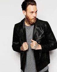Dr. Denim Dr Denim Leather Biker Jacket Jason Assymetric Zip Black