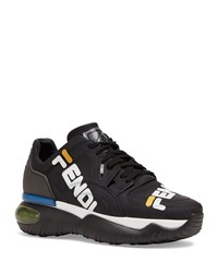 Fendi Mania Logo Print Leather Dad Sneakers Black