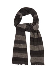 Denis Colomb Annapuna Striped Cashmere Scarf Grey