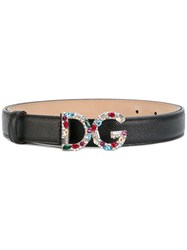 Dolce And Gabbana Logo Plaque Belt Women Leather Stone 85 Black
