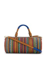 Etro Embroidered Paisley Print Barrel Tote Brown