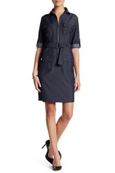 Sharagano Chambray Cuffed Shirt Dress Petite Blue