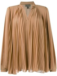 Tony Cohen Ruched Blouse Women Polyester 34 Nude Neutrals