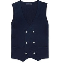 Lardini Slim Fit Double Breasted Knitted Cotton Sweater Vest Navy