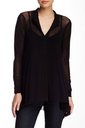 Weston Wear Kelly Split Neck Long Sleeve Blouse Black