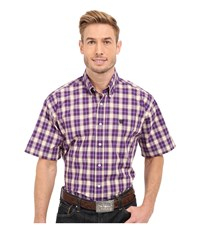 Cinch Short Sleeve Plain Weave Plaid Purple Men's Short Sleeve Button Up