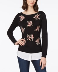 Charter Club Embroidered Layered Look Sweater Created For Macy's Deep Black