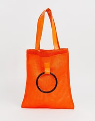 French Connection Mesh Shoppers Tote With Grab Handle Red