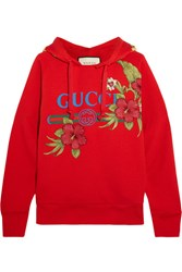 Gucci Embroidered Printed Cotton Jersey Hooded Top Medium