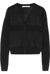 Diane Von Furstenberg Adelyn Corded Lace Paneled Ribbed And Open Knit Merino Wool Cardigan Black
