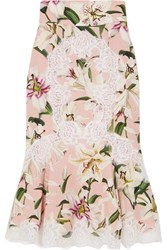 Dolce And Gabbana Ruffled Lace Trimmed Floral Print Silk Blend Midi Skirt Pink