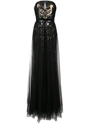 Marchesa Notte Sequined Tulle Gown Black