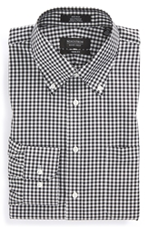 Nordstrom Non Iron Trim Fit Gingham Dress Shirt Black Rock