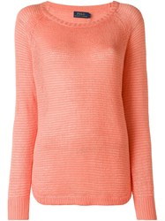 Polo Ralph Lauren Loose Knit Sweater Pink And Purple