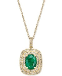 Macy's Emerald 1 1 10 Ct. T.W. And Diamond 1 3 Ct. T.W. Pendant Necklace In 14K Gold Yellow Gold