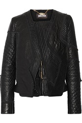 Just Cavalli Quilted Leather Biker Jacket Black