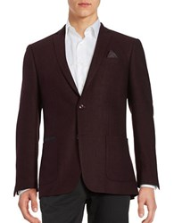 Tallia Orange Wool Herringbone Jacket Wine