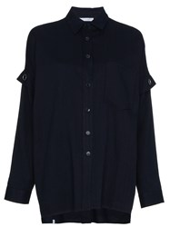 Lot 78 Lot78 Oversize Shirt With Eyelet Detail Cotton Blue