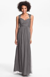Amsale Women's Crinkled Silk Chiffon Gown Charcoal