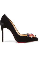 Christian Louboutin Iva Cora 100 Embellished Velvet Point Toe Pumps Black