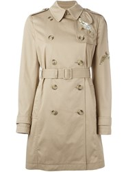 Red Valentino 'Dazzling Bird' Embroidered Trench Coat Nude And Neutrals