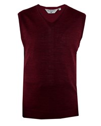 Double Two Men's V Neck Sleeveless Sweater Claret