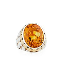 John Hardy Large Oval Citrine Cocktail Ring Orange