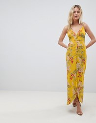 Hope And Ivy Cami Strap Button Front Maxi Dress With Cutout Back In Floral Print Mustard Print Multi