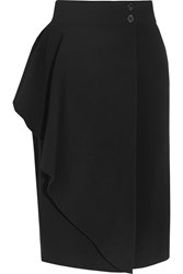 Alexander Mcqueen Draped Stretch Crepe Wrap Skirt Black
