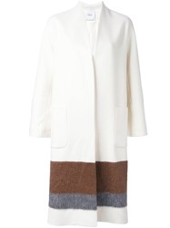 Agnona Colour Block Coat Nude And Neutrals